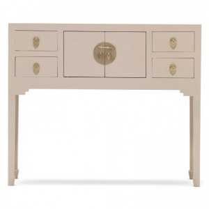 Golden Dragon Oriental Painted Solid Wood Grey Console Table 100x26x80cm