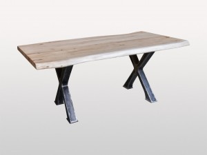 Live Edge Industrial Indian Solid Wood Metal Base Dinning Table Docks