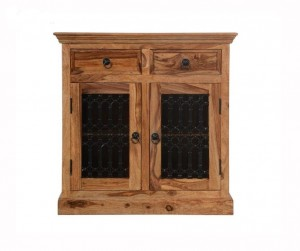 Indian Solid Wood Small Jali Cabinet Natural 90 x 45 x 90 Cm