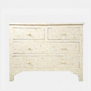 Maaya Bone Inlay Chest of Drawer sideboard White Floral