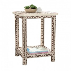 Maaya Bone Inlay Seating Stool White Brown Floral Pattren