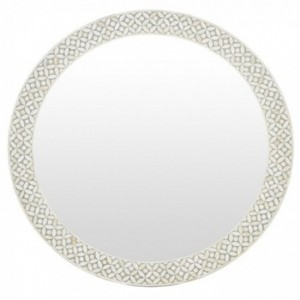 Maaya Round Bone Inlay Mirror Frame - Geometric 75x5x75cm