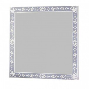 Maaya Bone Inlay Mirror Frame White Grey Floral Pattren