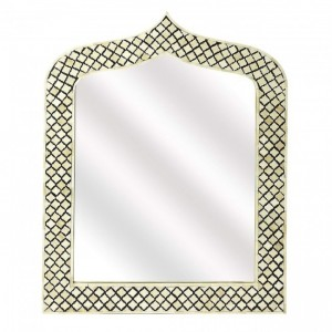 Maaya Bone Inlay Mirror Frame Black Geometric Pattren