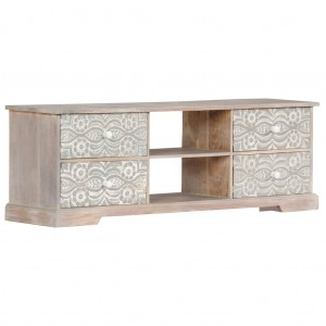 AVALON Solid wood 4 Drawer Tv Unit Whitewash 120cm
