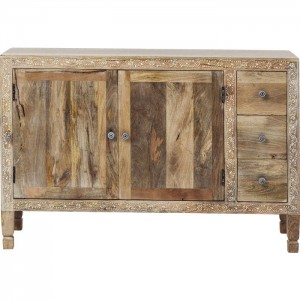 Vivid Village Art Contemporary Solid Wood Hand Painted Sideboard Natural 120cm