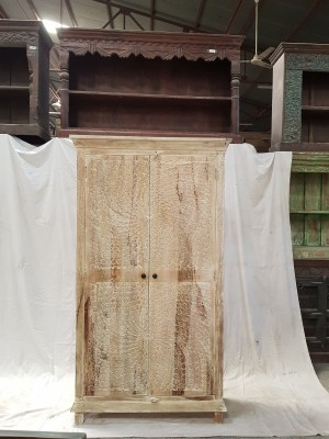 Indian Hand Carved Solid Wooden Beautiful Buffet Cabinet Cupboard 100x40x181cm