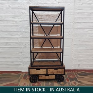 Contemporary X-design Wooden And Metal Bookshelf Natural With Wheels
