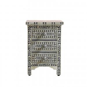 Maaya Bone inlay Geometric 3 drawer bedside lamp table