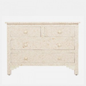 Maaya Bone Inlay Chest of Drawer sideboard White