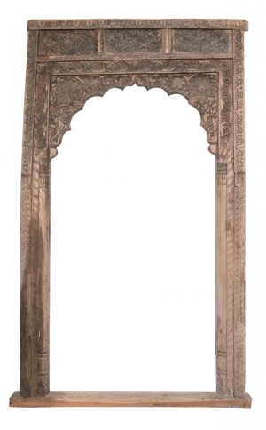 Hand Carved Indian Arched Courtyard Doorway Frame Natural