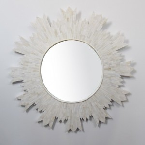 Maaya Bone Inlay Round Mirror Frame White 120cm