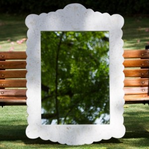 Maaya Bone Inlay Mirror Frame White Floral Pattren