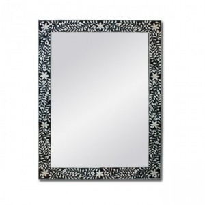 Maaya Bone Inlay Mirror Frame White Black Floral Pattren