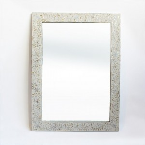 Maaya Bone Inlay Mirror Frame White Floral Pattren 90cm