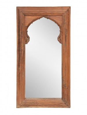 Hand Carved Indian Arch Mehrab Window Frame With Mirror Brown