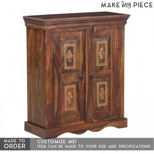 Brasswork Solid wood 2 Door Cabinet Sideboard Brown