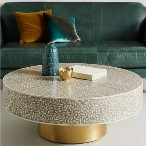 Maaya Brass Bone Inlay Round drum Coffee Table Grey Floral