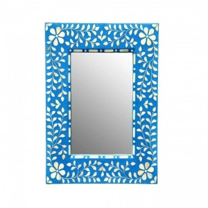 Maaya Bone Inlay Mirror Frame Blue White Floral Pattren