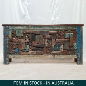 Solid Reclaimed Wood Antique Carved Panel Console Hall Table