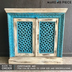 Mughal Jali Carved Solid wood Sideboard Blue-cream