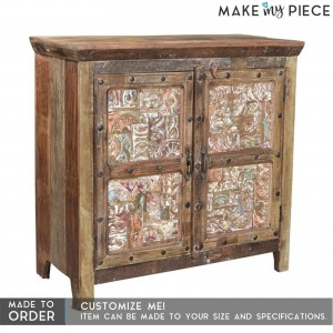 Carved Block Print Reclaimed wood Sideboard