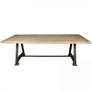 Industrial Solid Wood Trestle Iron Legs Farmhouse Dining Table