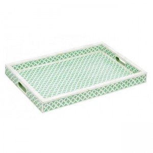 Maaya Fish Scale Bone Inlay Serving Tray - Green  49x39x5cm