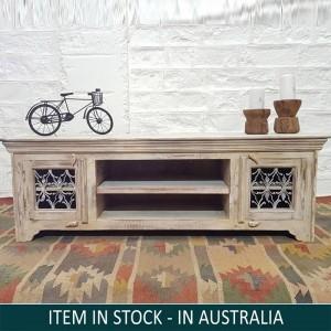 Solid Wood Tv Unit Cabinet Natural 150 cm