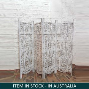 Hand Carved Indian Partition Screen Room Divider WHITEWASH 200x180 cm