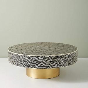 Maaya Brass Bone Inlay Round drum Coffee Table Geometric