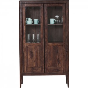 Boston Taper Contemporary Solid Wood Display Cabinet Glass doors Walnut 175 cm