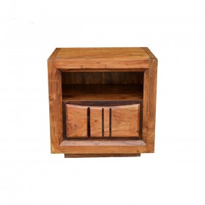 Shutter Indian Solid Wood Bedside Table Natural  40 x 50 x 50 Cm