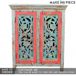 Jali Carved Indian Solid wood Multi coloured Sideboard