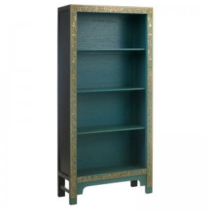 Golden Dragon Oriental Painted Solid Wood Blue Bookshelf 80x30x170cm