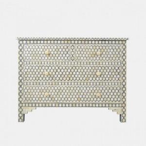Maaya Bone Inlay Chest of Drawer sideboard Grey Honeycomb