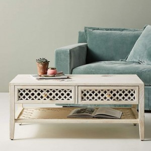 Maaya Bone Inlay Rectangular 2 Drawer Coffee Table White