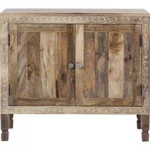 Vivid Village Art Contemporary Solid Wood Hand Painted Small Sideboard Natural