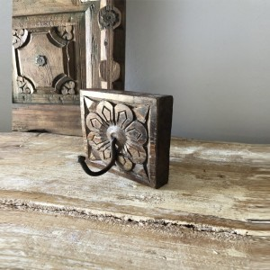 Floral Hand Carved Indian Wooden Coat Rack Wall Hanger With 1 Hooks