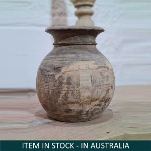 Indian Solid Wood Round Oil Pot Storage Natural B