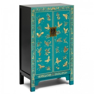 Golden Dragon Oriental Painted Solid Wood Blue Medium Cabinet 70x40x120cm