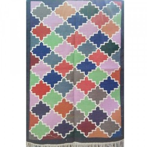 Kilim Wool Handwoven Cotton Dhurrie Durry Rug Jute Floor Covering Pattern 41