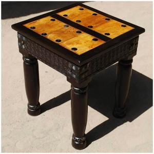 Milson Indian Solid Wood Hand Carved Side End Table w Wrought Iron Hardware