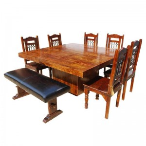 Solid Wood Square Pedestal Dining Table & Chair Set w Bench