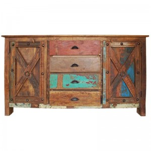 X - Design Indian Reclaimed Wood 4 Drawers Large Buffet Sideboard