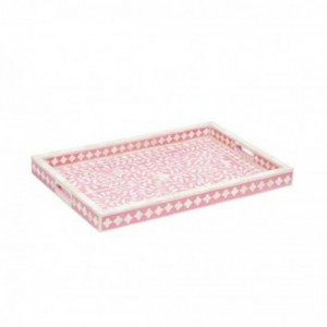 Maaya Bone Inlay Serving Tray - Floral Design Pink 49x39x5cm