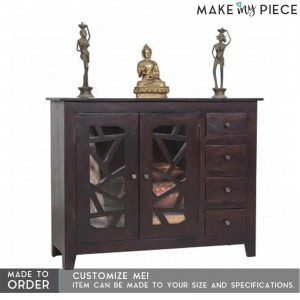 French Style Arched Glass Door Sideboard Brown 1.3m