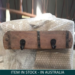 Solid Indian Wooden And Iron Wall Hanger Natural