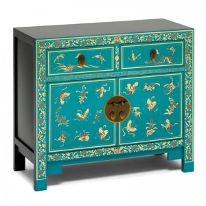 Golden Dragon Oriental Painted Solid Wood Blue and Gold Sideboard 90x40x80cm