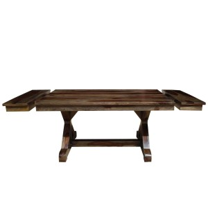 Indian Solid Wood Extendable Farmhouse Dining Table Chocolate
